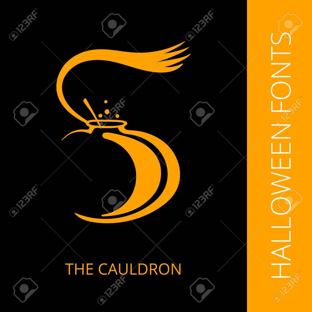 Halloween Design Vector Font Letter S Consist Of The Cauldron