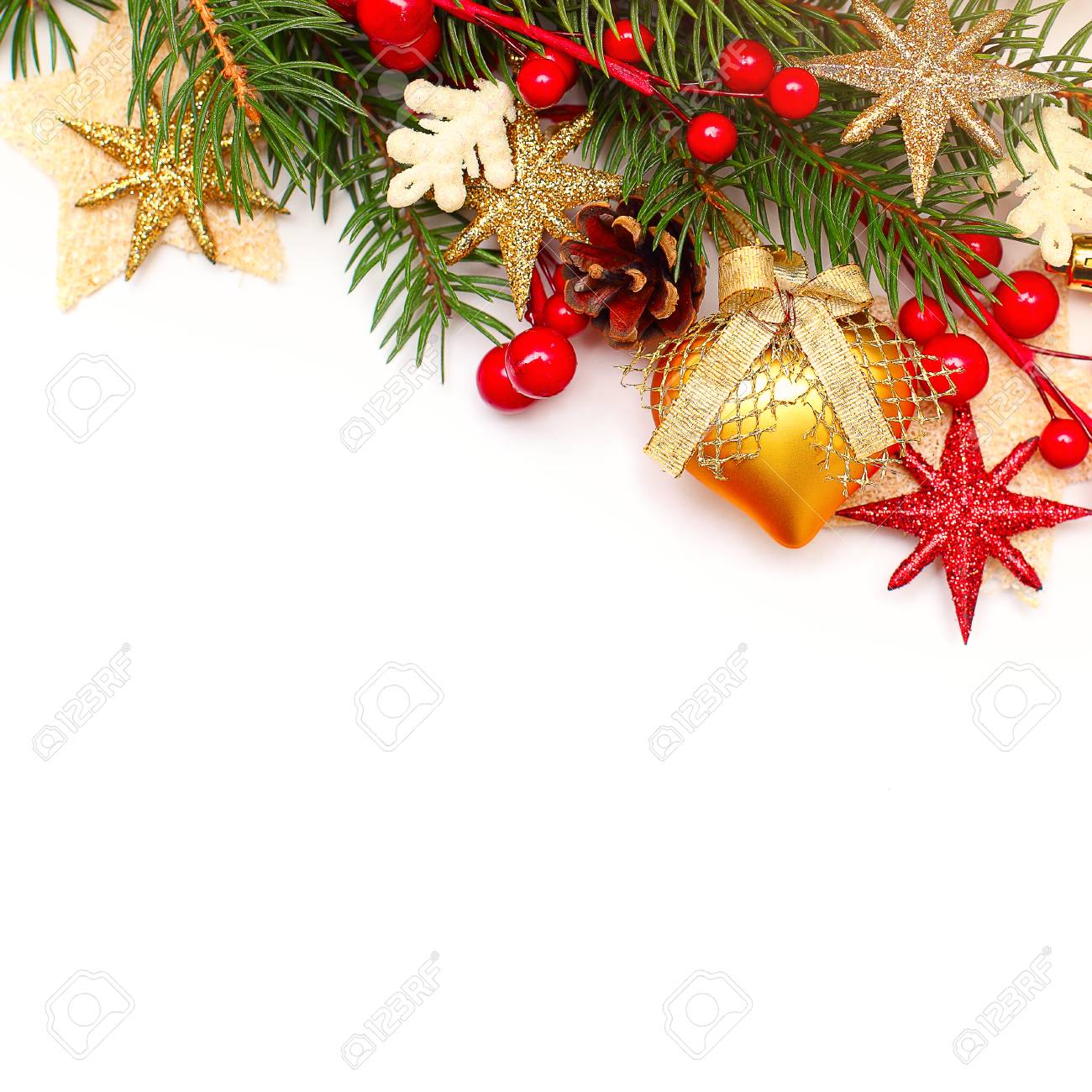 christmas background with xmas tree twig and decorations abstract christmas or new year border for