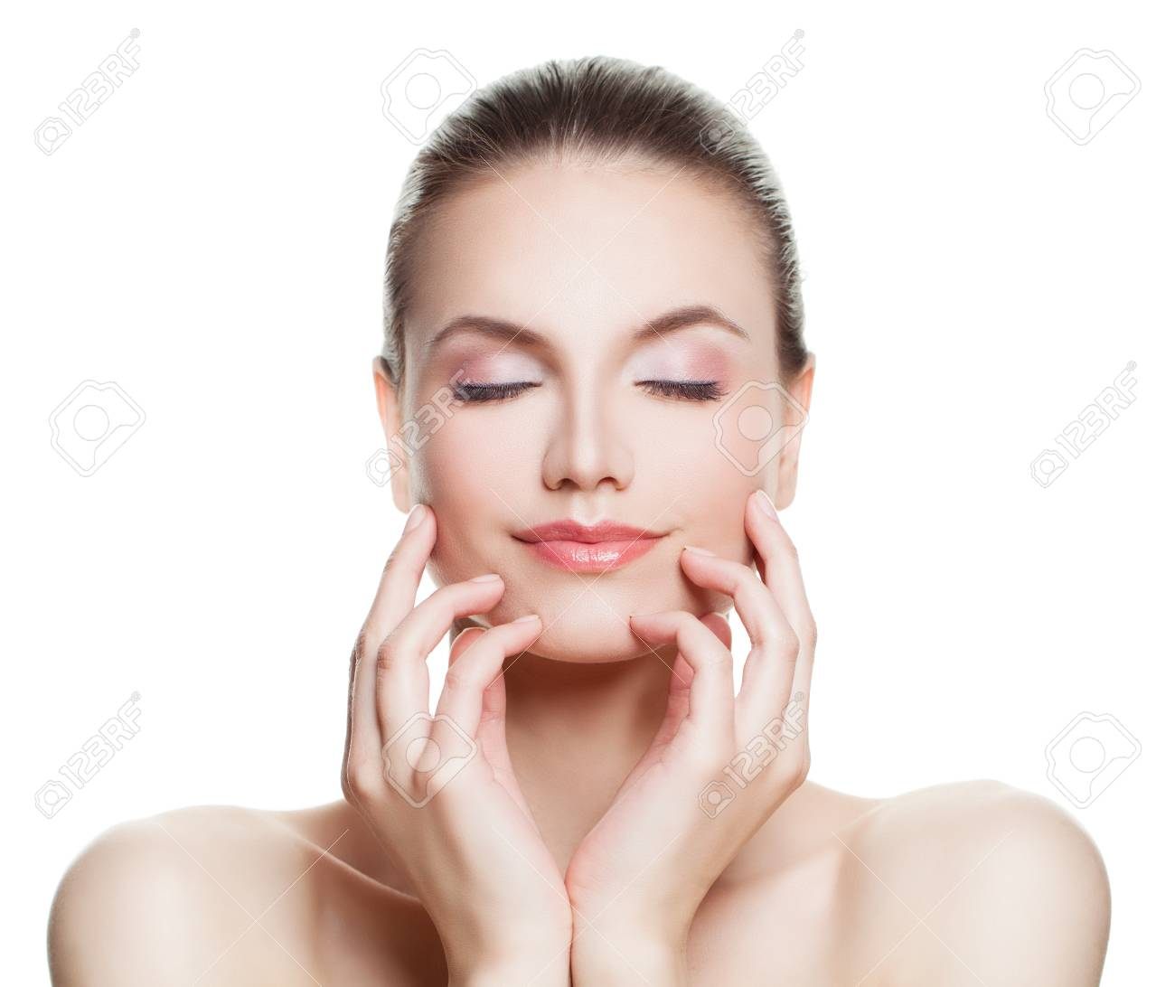 Beautiful Woman Spa Model With Nude Makeup Perfect Face Skincare Stock Photo Picture And Royalty Free Image Image 72066834