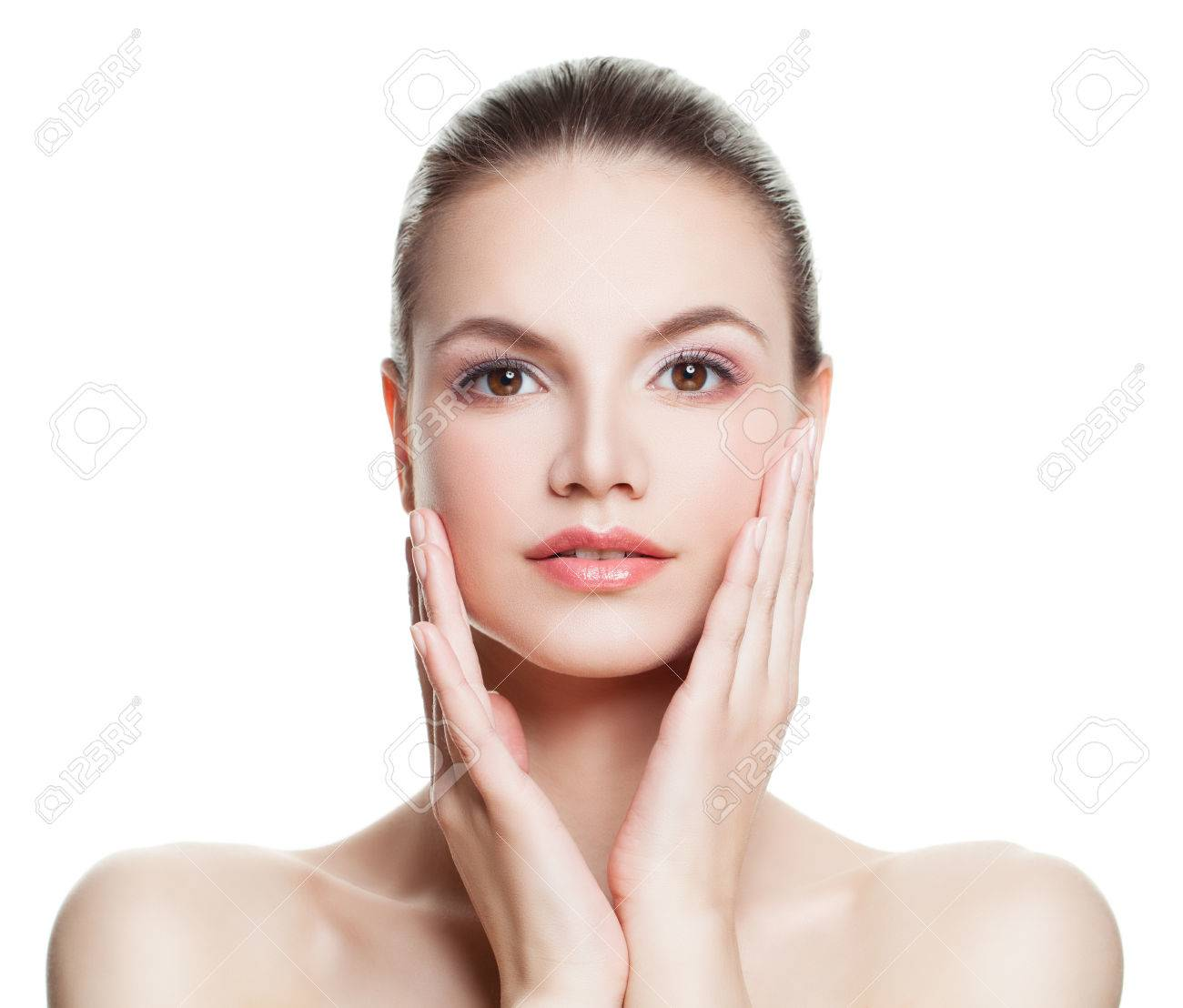 Spa Woman with Clean Skin Touching her Hand Her Face. Spa Beauty, Facial Treatment and Cosmetology - 72044614
