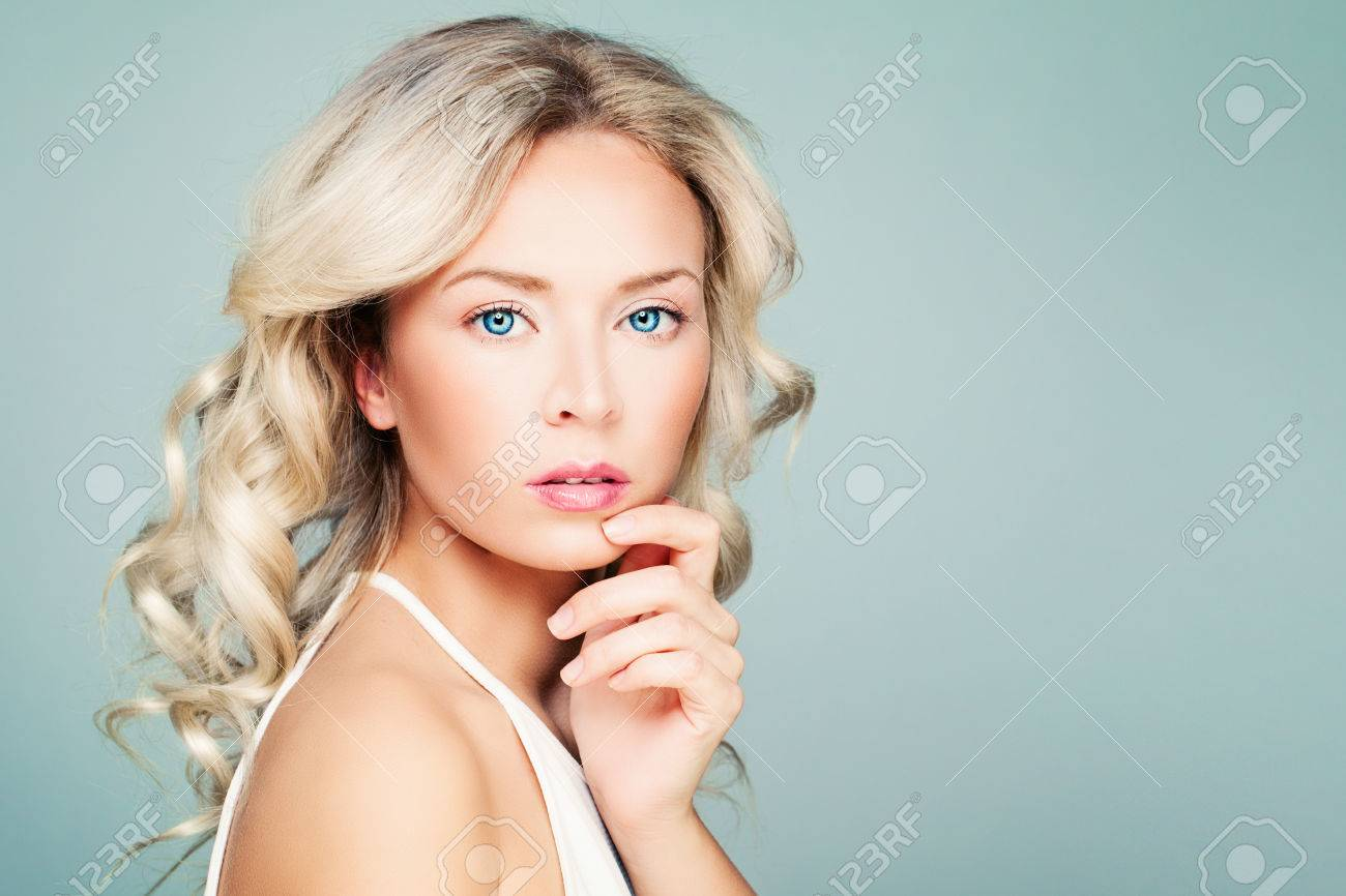 Young Woman Fashion Model With Blonde Curly Hair And Natural Stock Photo Picture And Royalty Free Image Image 76580520