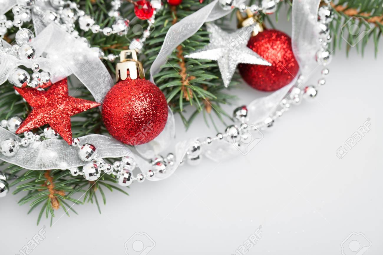 Christmas Decor On White Background Xmas Tree Twig Red Stars