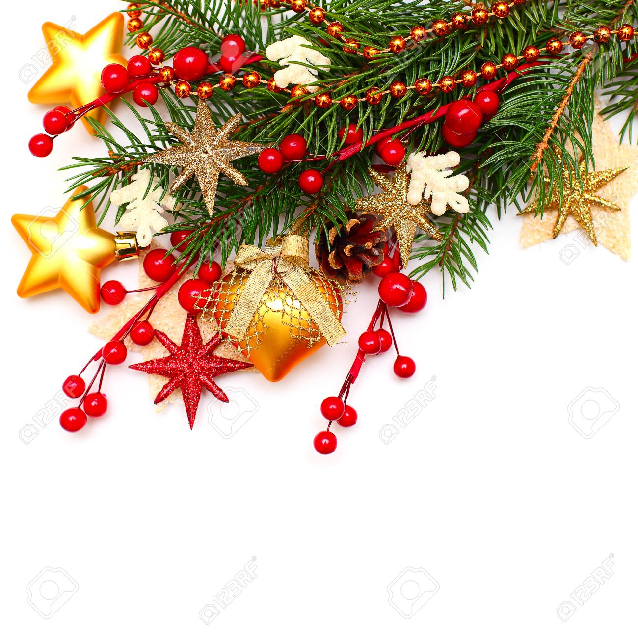 christmas background with glass ball golden stars xmas tree branch and red berry