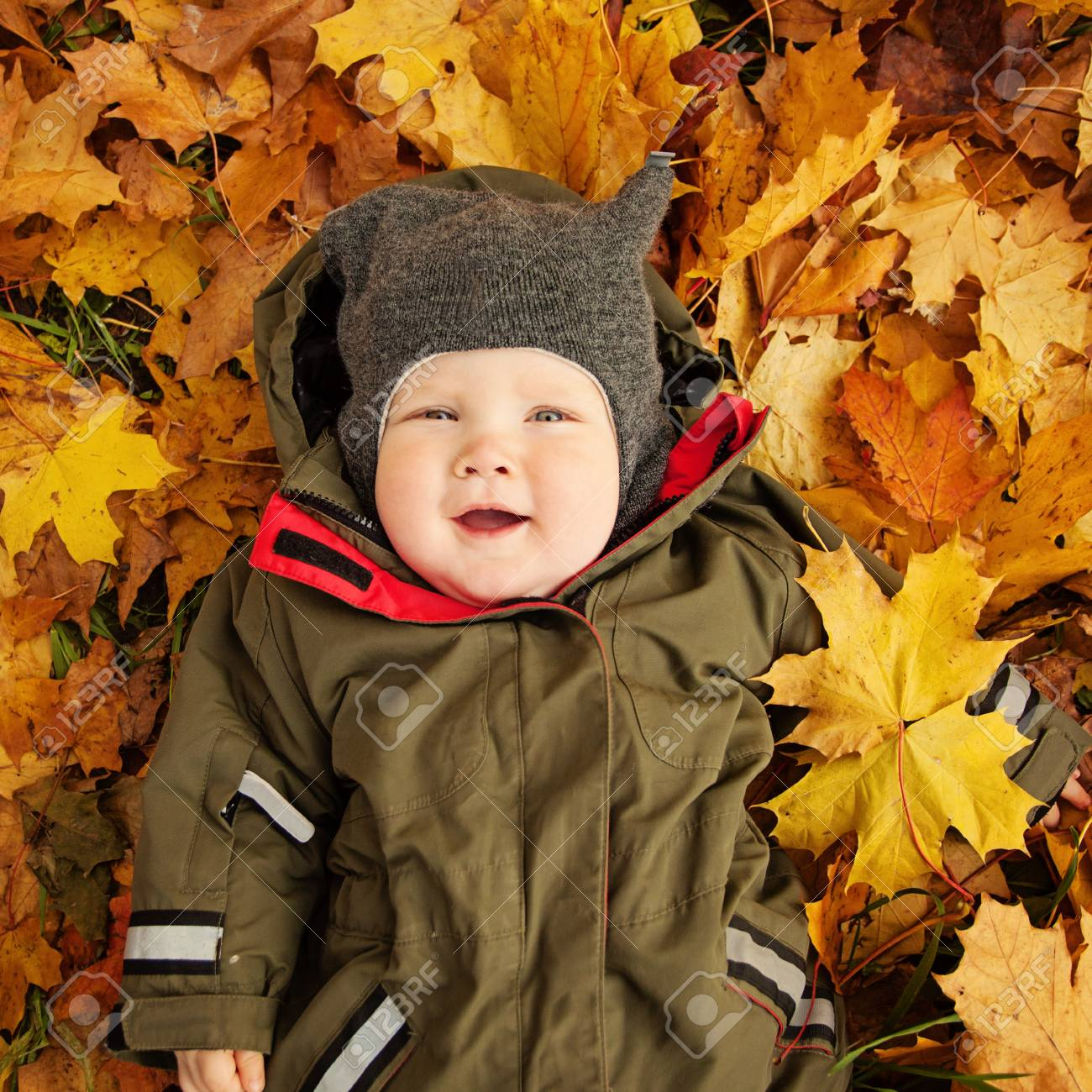 7f20992e2 Cute Small Baby On Autumn Leaves. Happy Little Child (6 Month ...