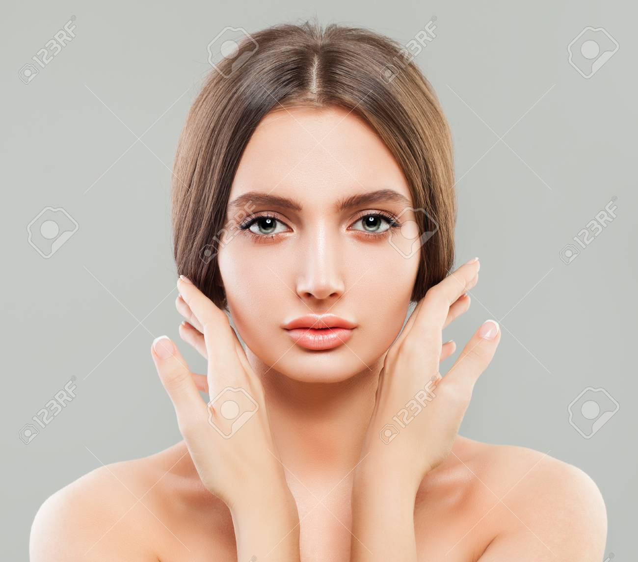 Young Healthy Woman With Clear Skin Manicured Hands Perfect Stock Photo Picture And Royalty Free Image Image 93323578