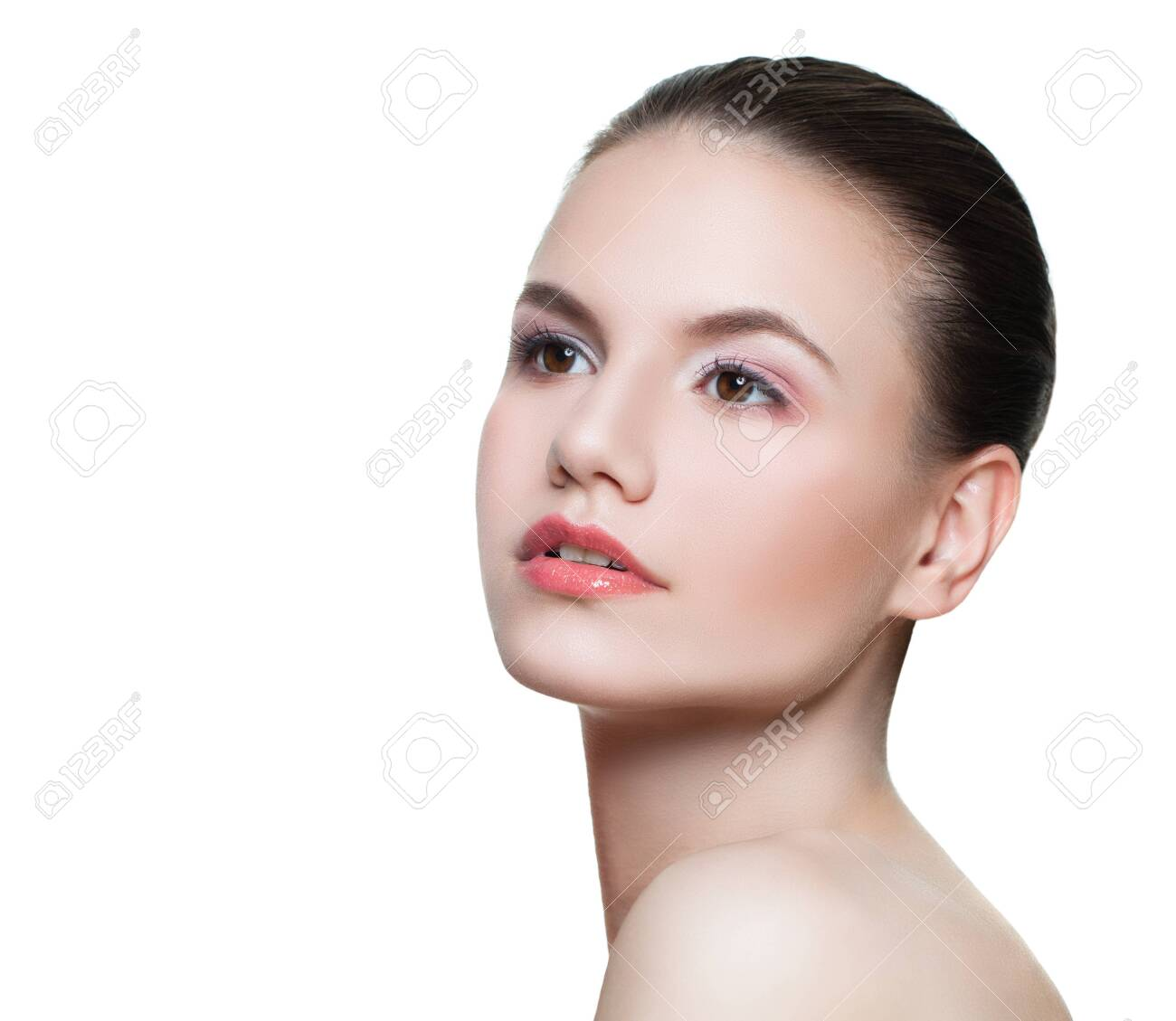 Portrait of perfect young woman spa model with clear skin isolated on white - 122475795