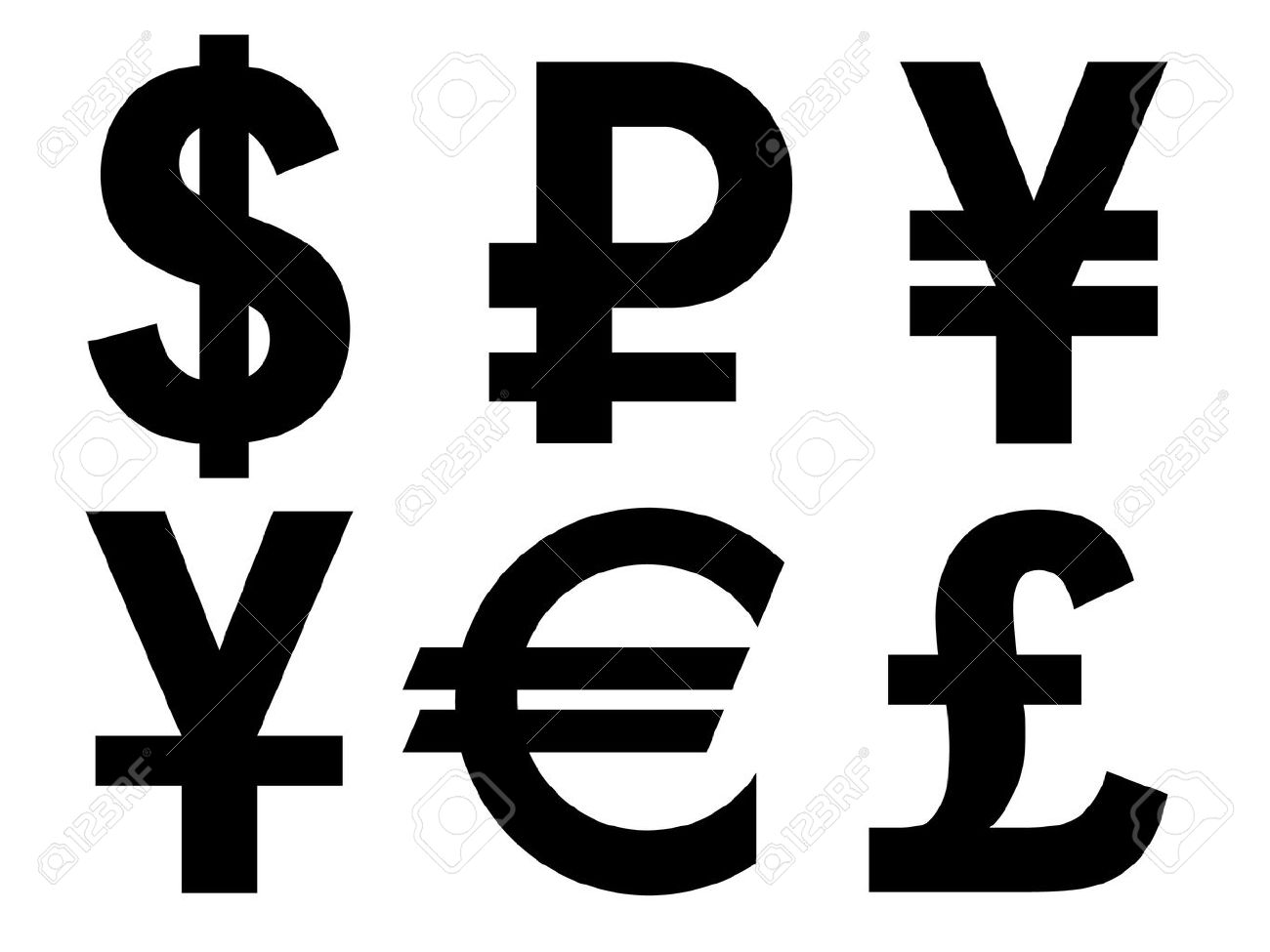 A Set Of Currency Symbols Royalty Free Cliparts Vectors And Stock