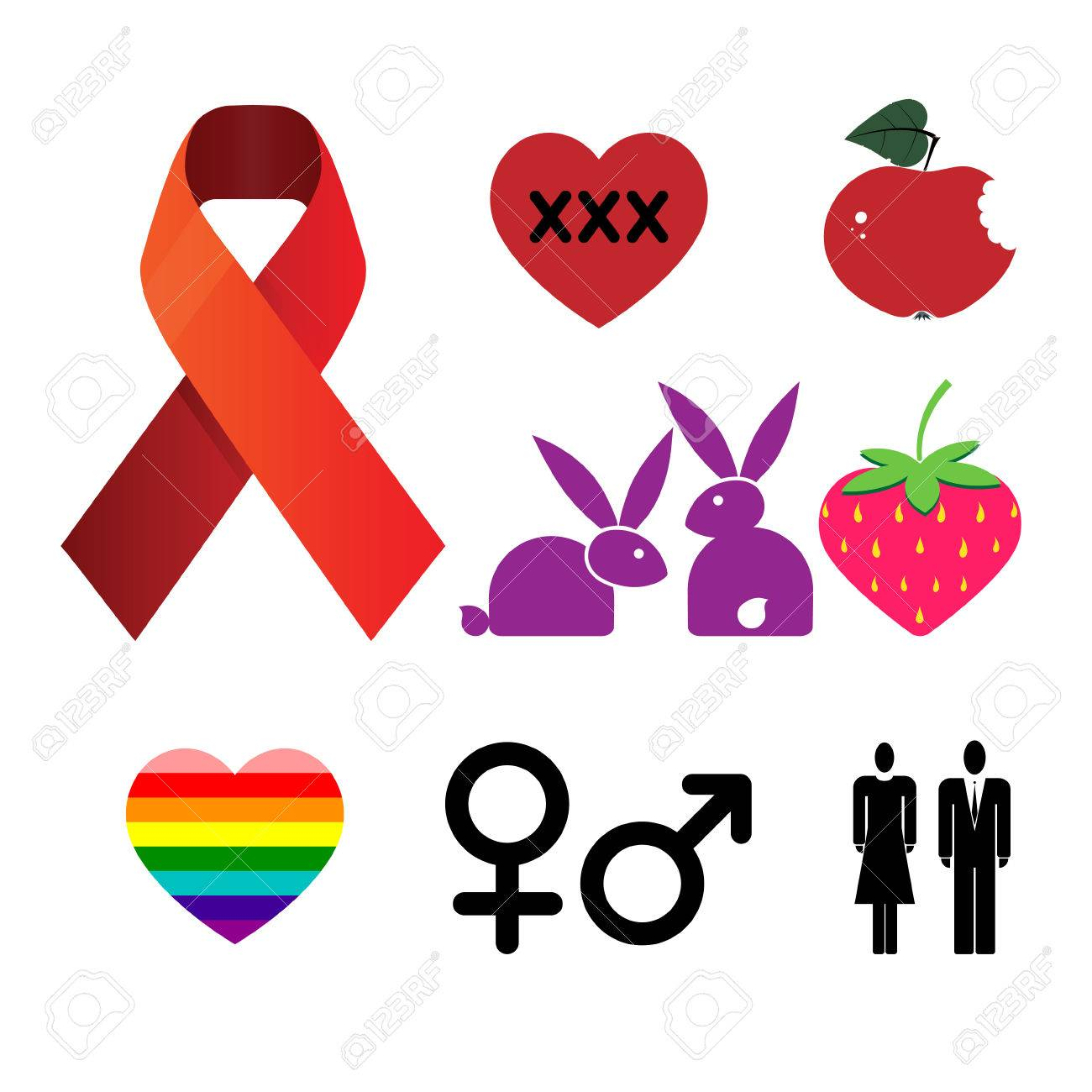 Set symbols with a heart on social issues. Stock Vector - 8591640