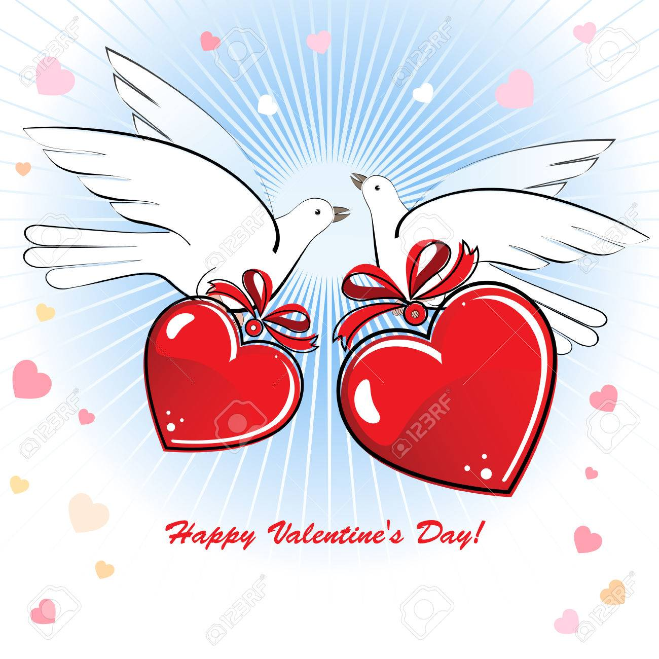 Composition With Two Doves And Hearts To The Valentine\'s Day ...