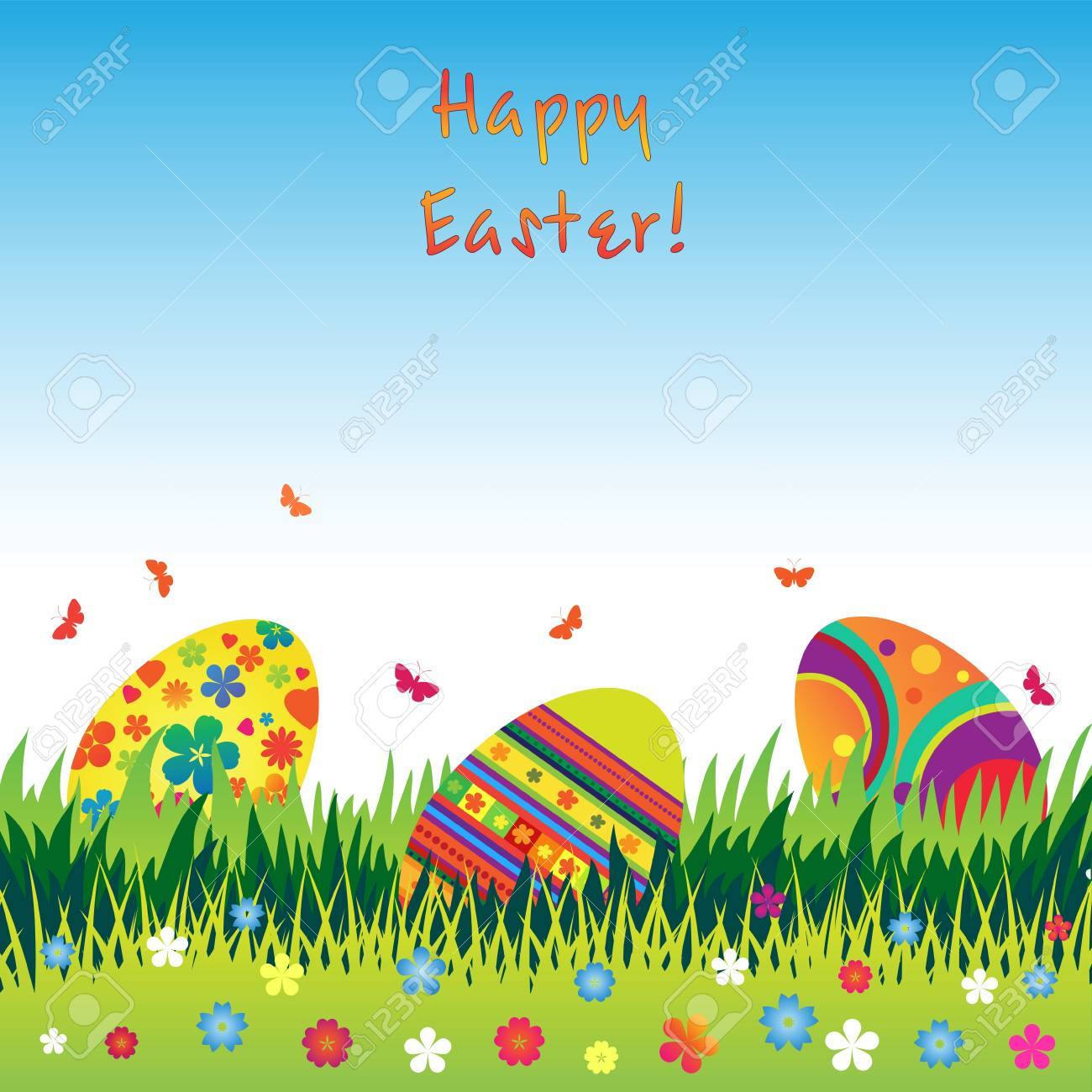 Easter eggs in the grass with butterflies and flowers. Stock Vector - 9242182