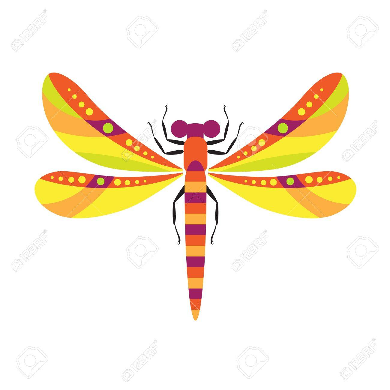 decorative stylized image of dragonfly on family of insects