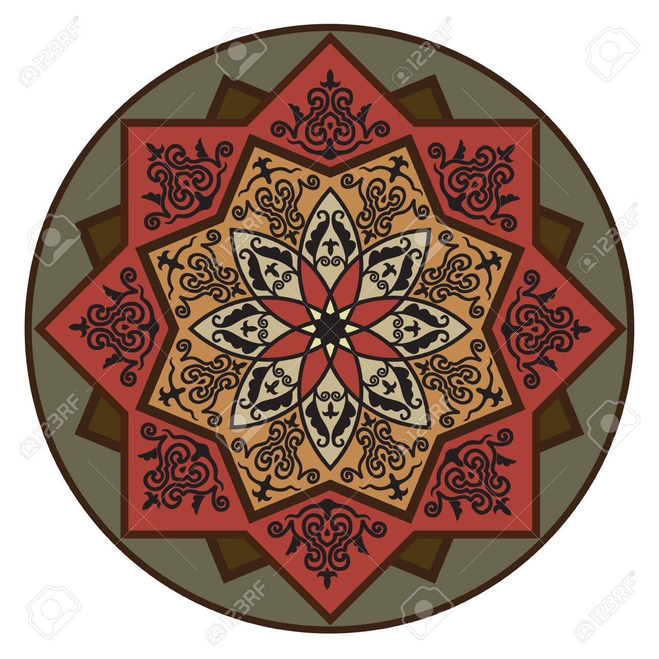 Rosette with Arabic floral pattern Stock Vector - 10531215