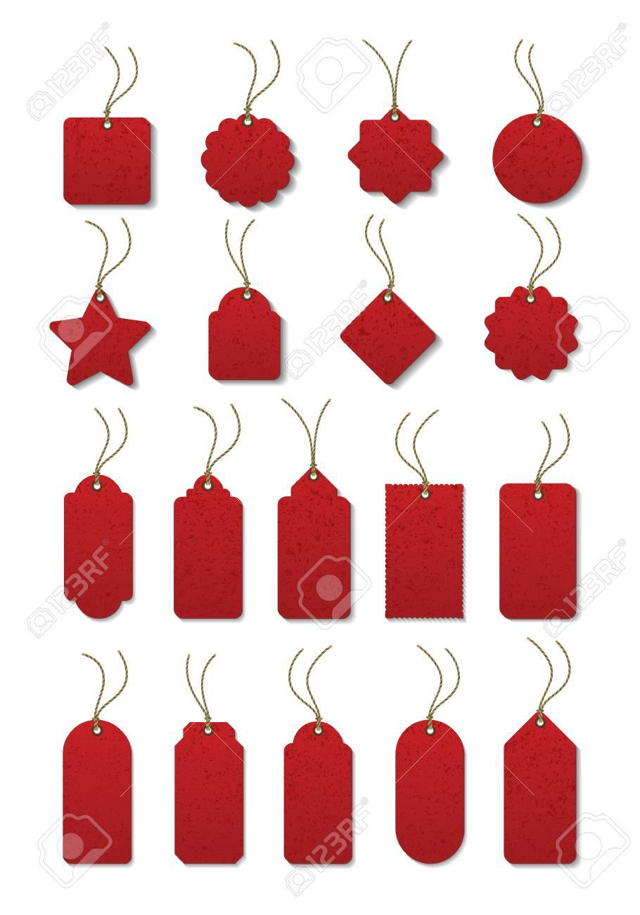Set of red tag on the cord Stock Vector - 10753764