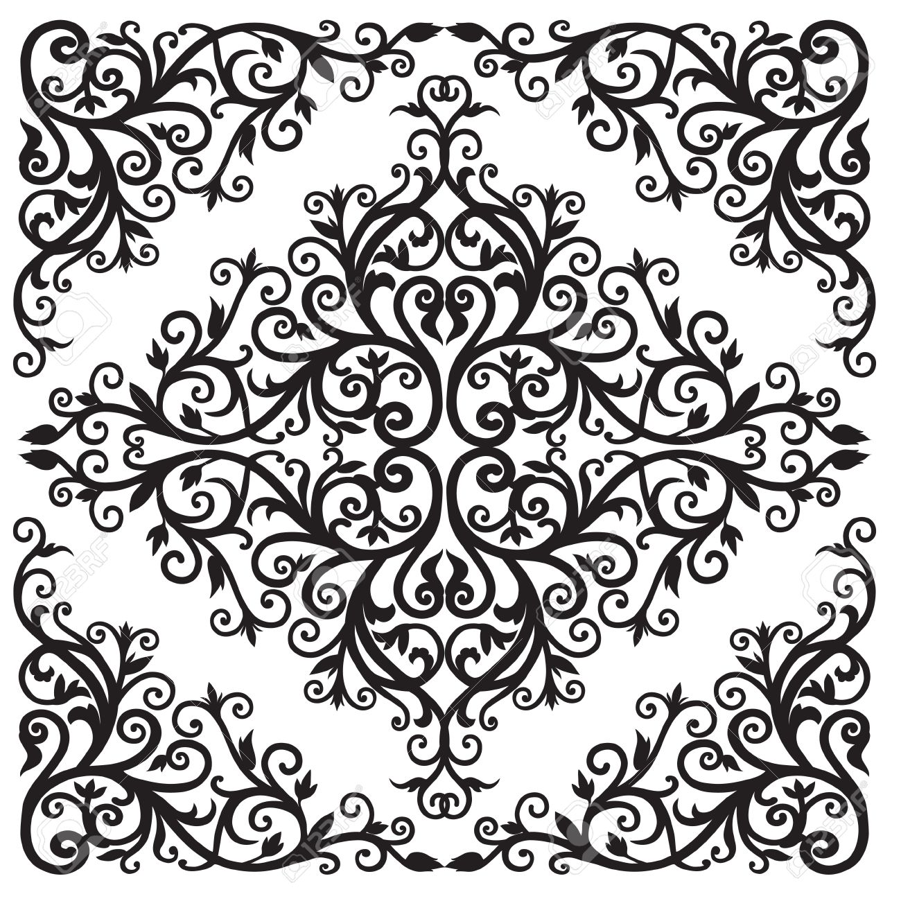 background in the square with the arab floral black and white
