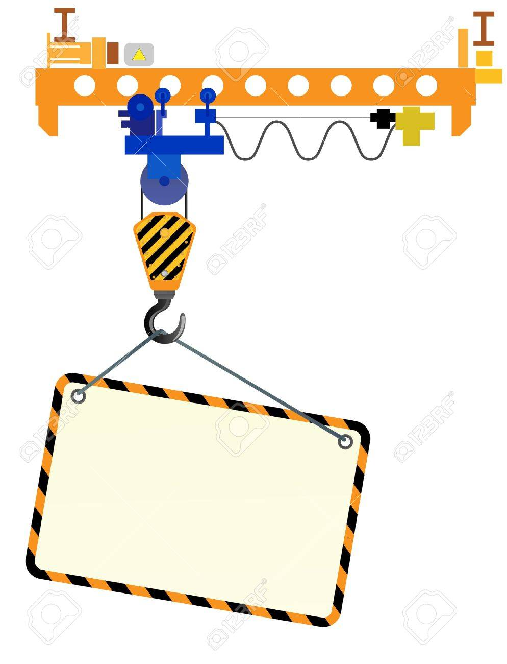 Image of crane beam with a hook and a place for text on a white background Stock Vector - 21910797