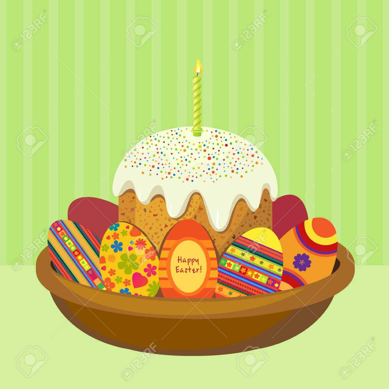 Cake For Easter Egg In A Dish With Space For Text Royalty Free