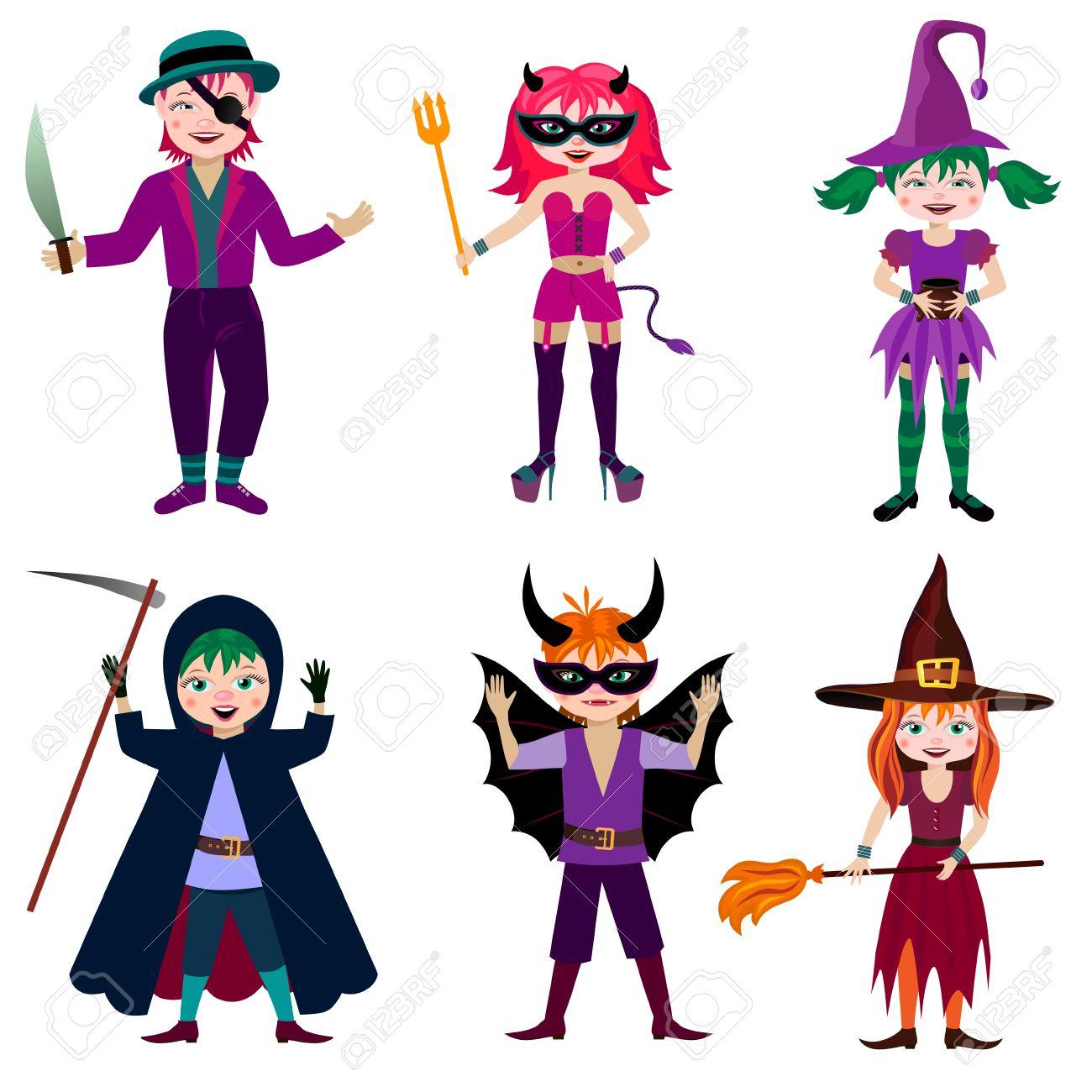 Conjunto De Personajes De Dibujos Animados De Halloween Los Nios