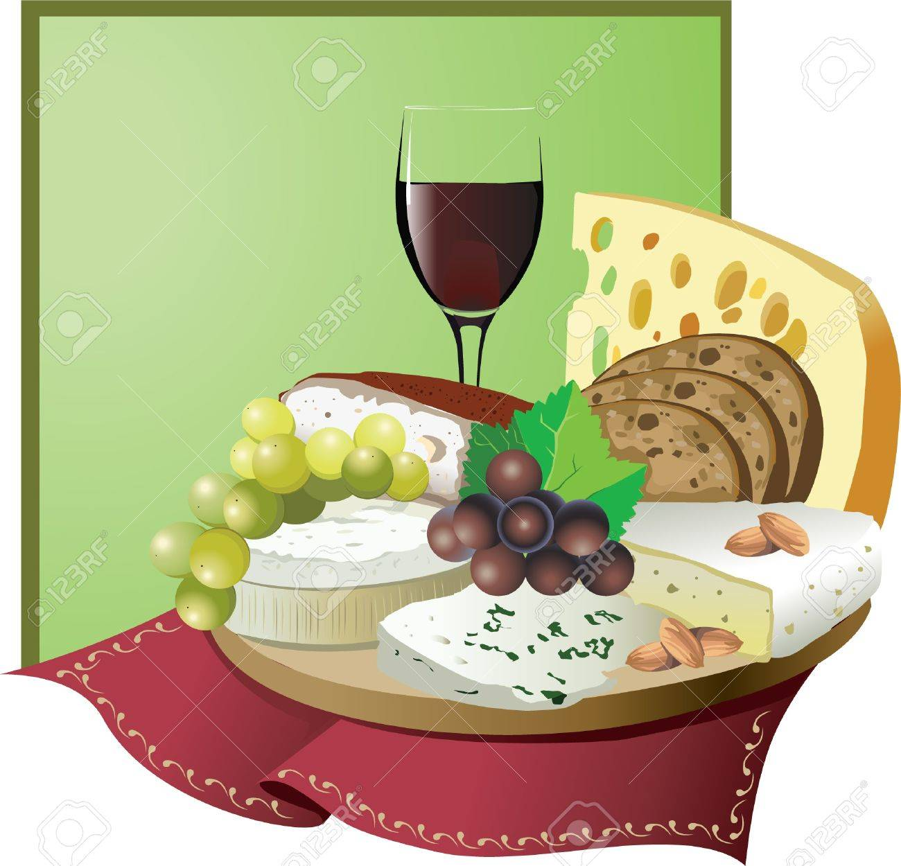 Still Life With Wine, Grapes And Cheese Royalty Free Cliparts ...