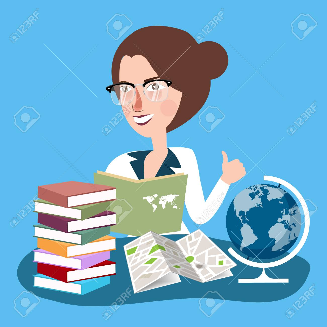dd8b2f6a8f3 teacher woman with glasses read books with globe in desk learn..