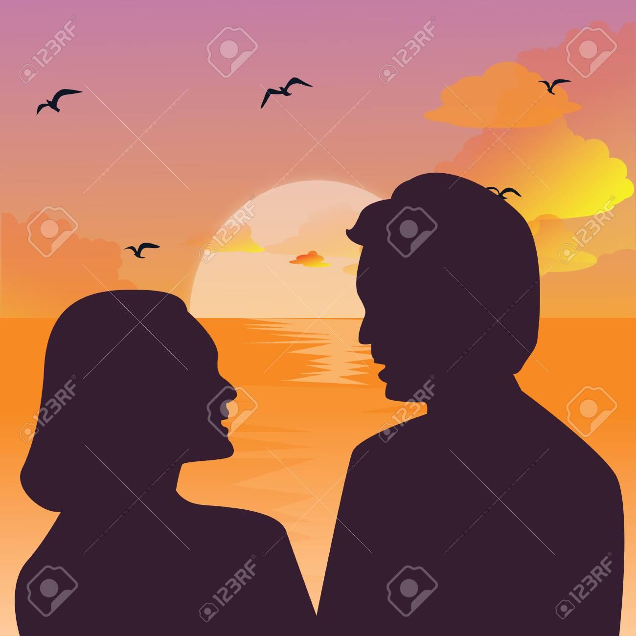Romantische Paar Küssen, Sonnenuntergang Exotischen Palmen Baum Lizenzfrei  Nutzbare Vektorgrafiken, Clip Arts, Illustrationen. Image 33396101.
