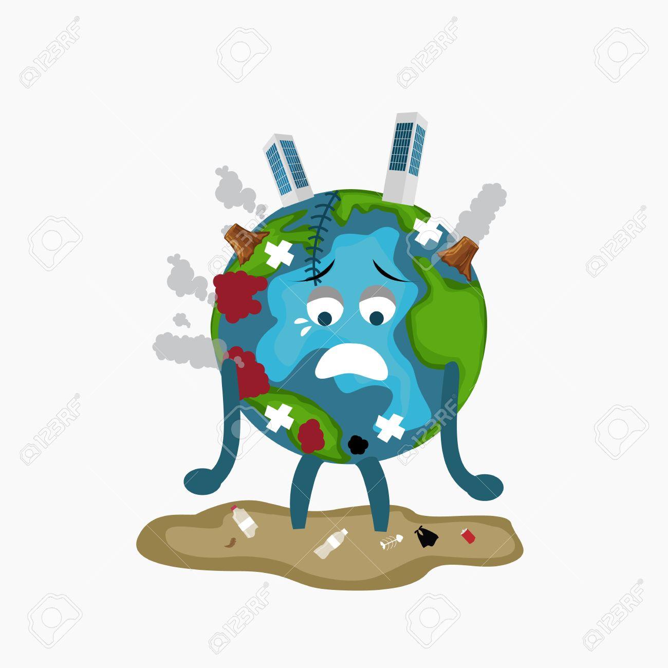 Earth globe sad sick tired of polution global warming deforestation full of dirty garbage environmental damage - 81480860