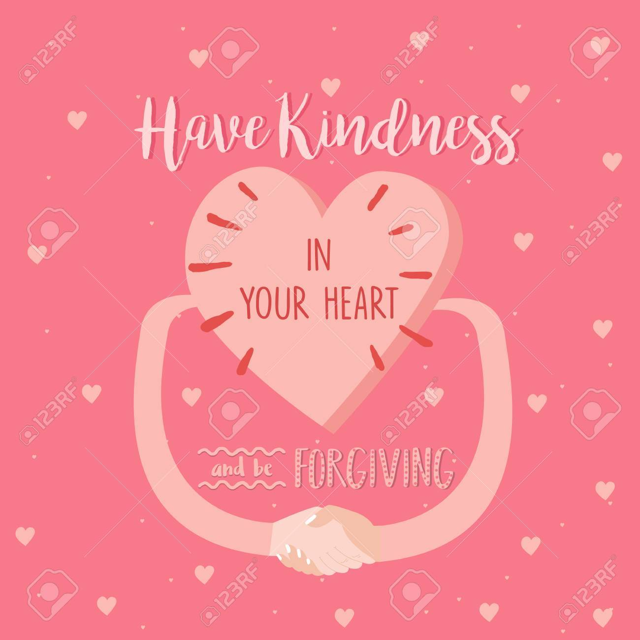 Forgiving Quotes | Have Kindness In Your Heart And Be Forgiving Quotes Pink Poster