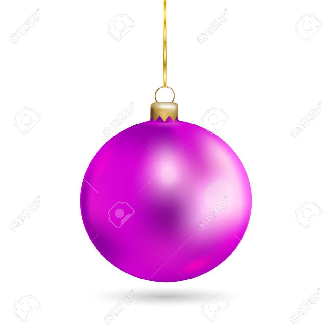 Boule De Noël Rose Isolé Sur Fond Blanc. Vacances De Noël Jouet