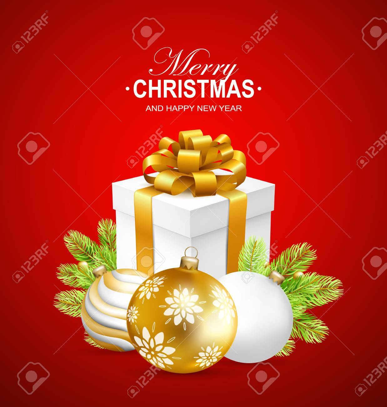 Merry Christmas And Happy New Year Card With Gift Box, Gold ...