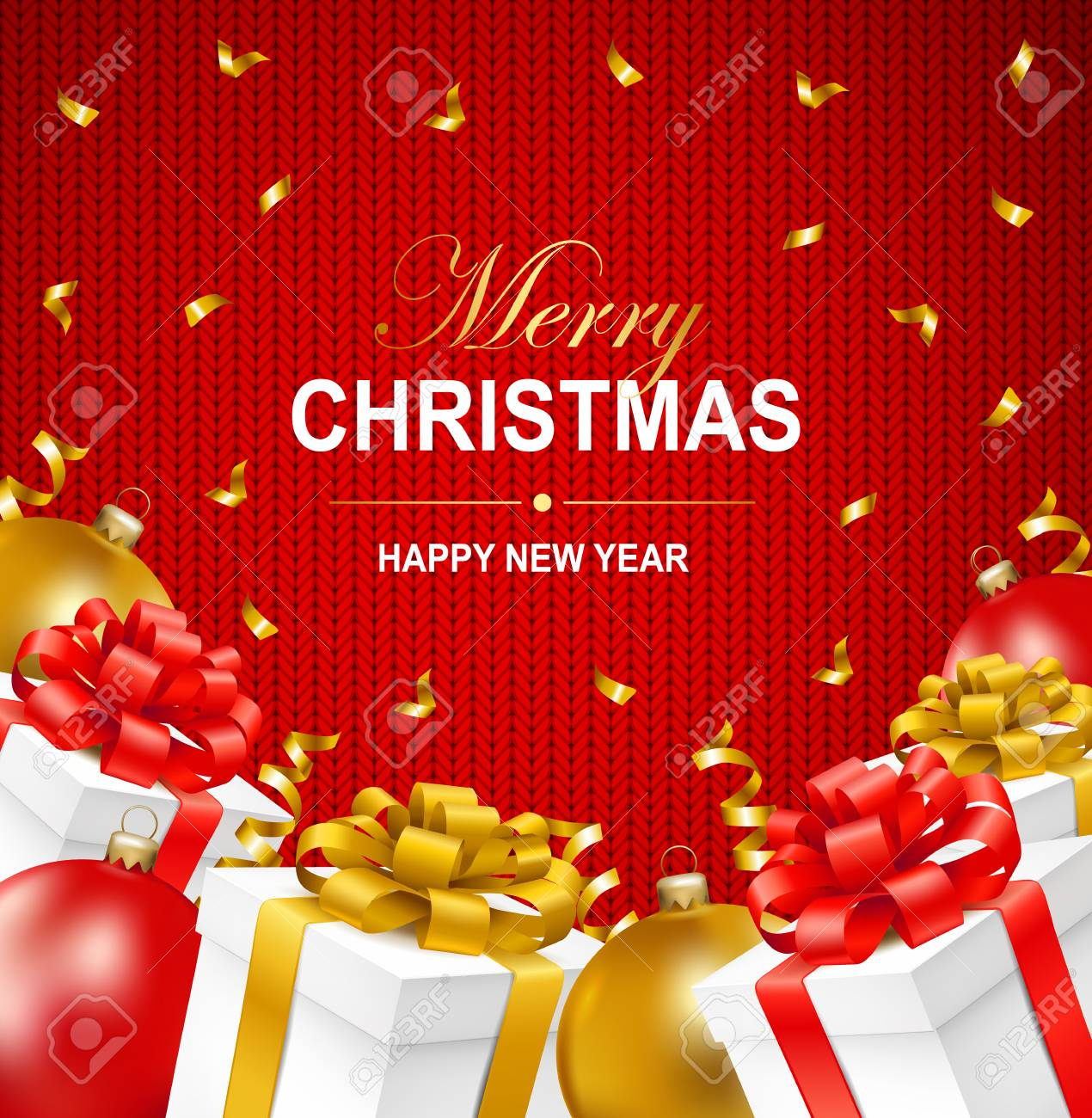 Merry Christmas And Happy New Year Greeting Illustration With