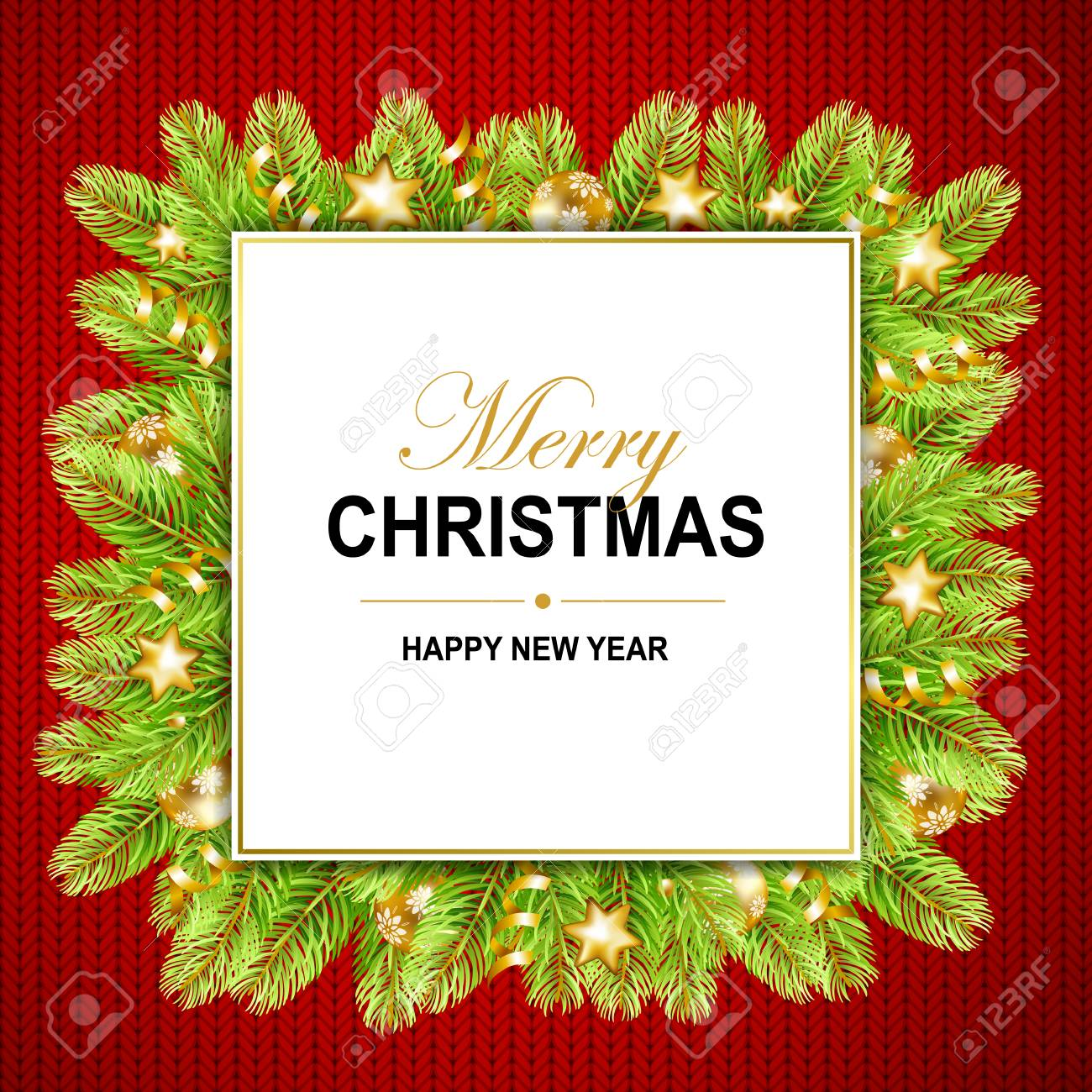 Merry Christmas And Happy New Year Frame With Gold Ribbon Stars