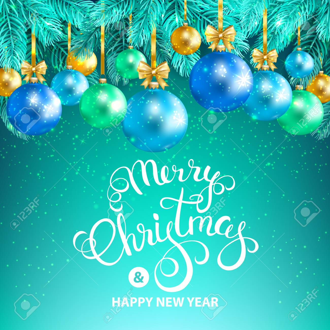 Merry Christmas And Happy New Year Card With Gold Blue Green