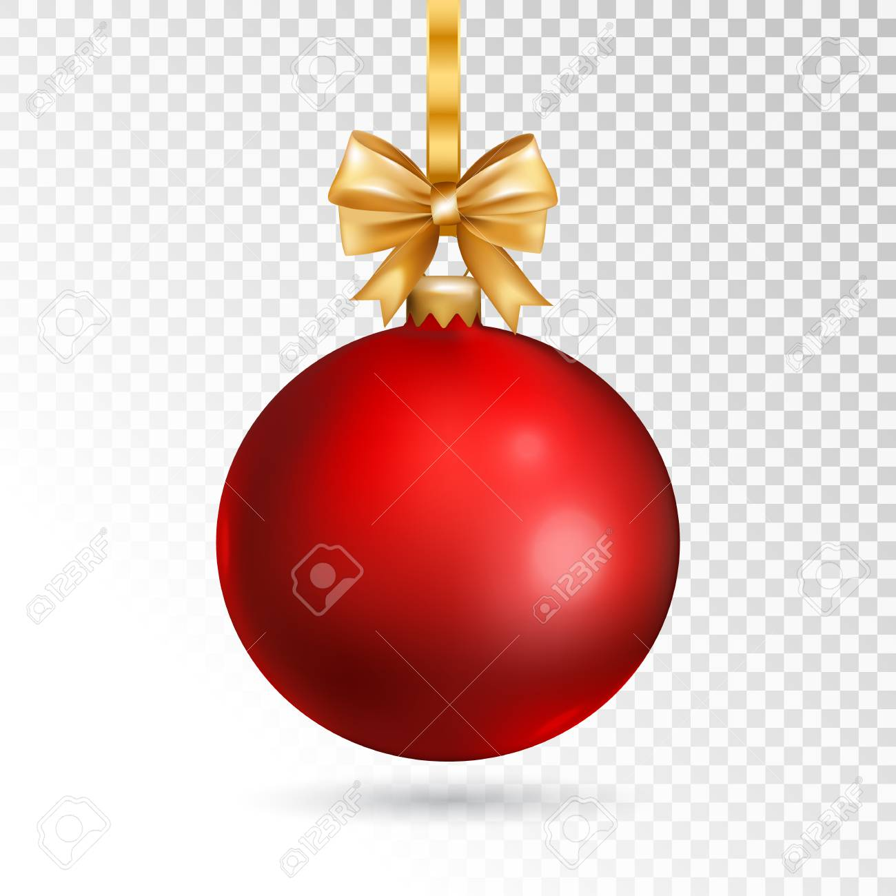 Christmas Transparent Background.Red Christmas Ball With Gold Bow Isolated On Transparent Background