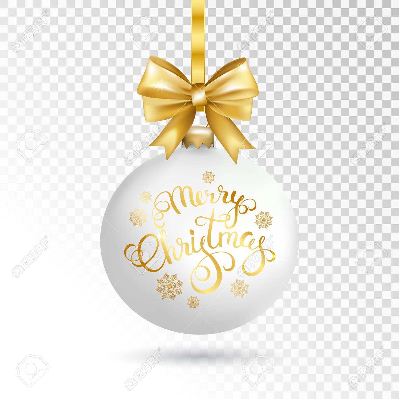 White Christmas Ball With Merry Christmas Calligraphy Isolated ...
