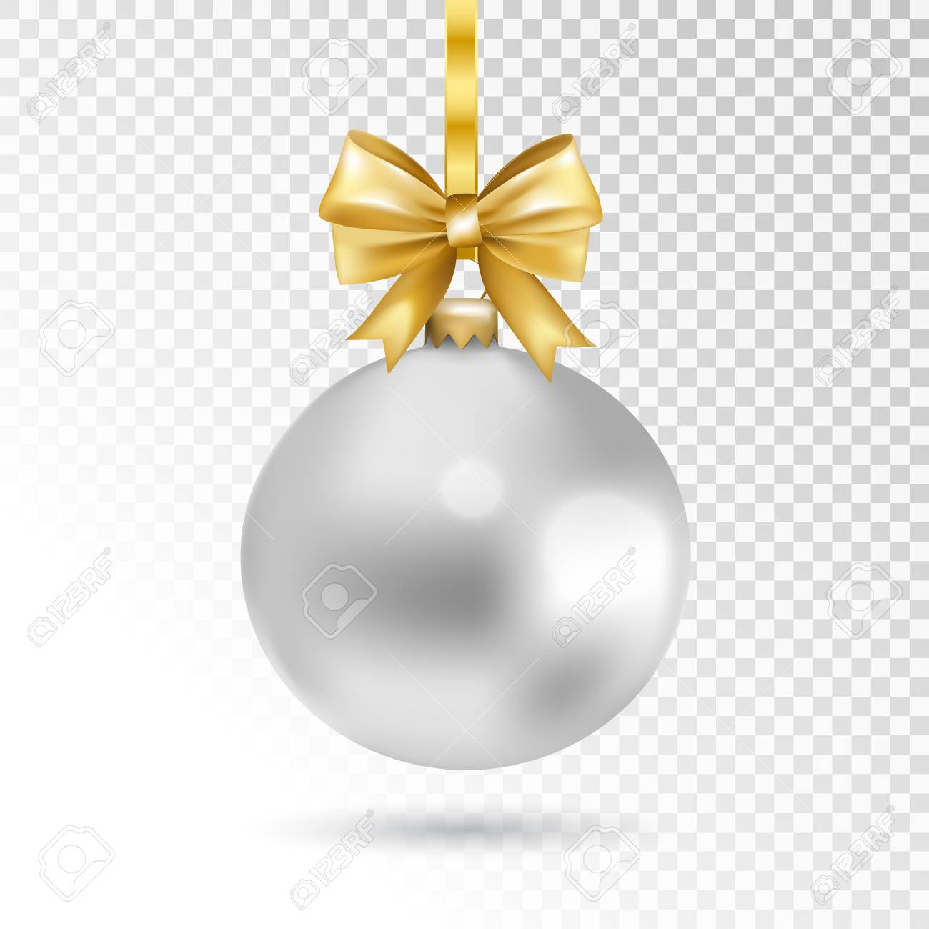 Silver Christmas Ball With Gold Bow Isolated On Transparent Background Holiday Toy For Fir