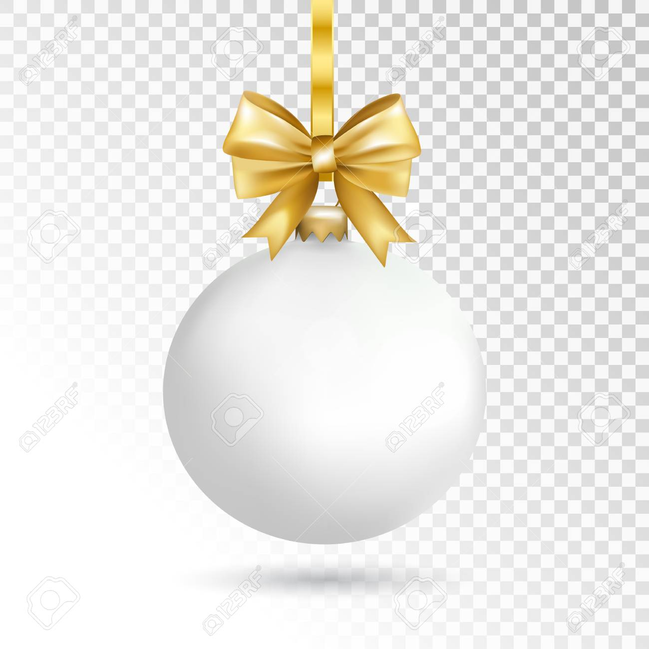 White Christmas Images Free.White Christmas Ball With Bow Isolated On Transparent Background