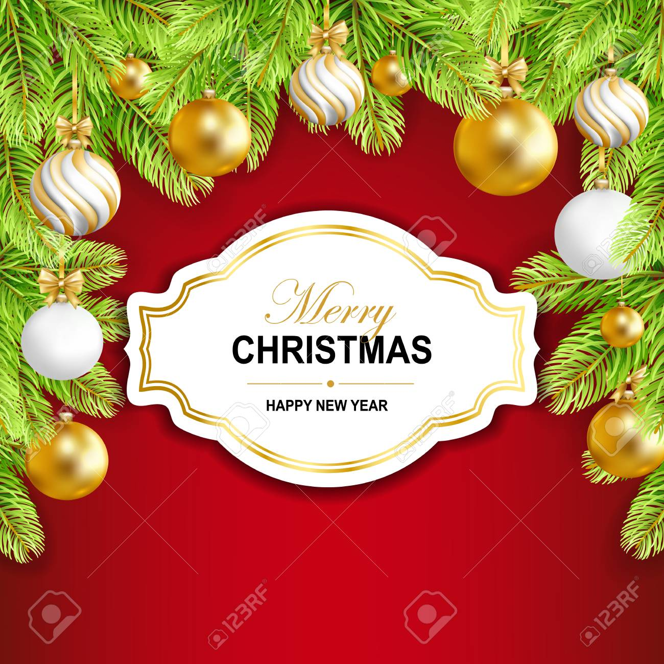 Merry Christmas And Happy New Year Card With Gold, White Balls ...