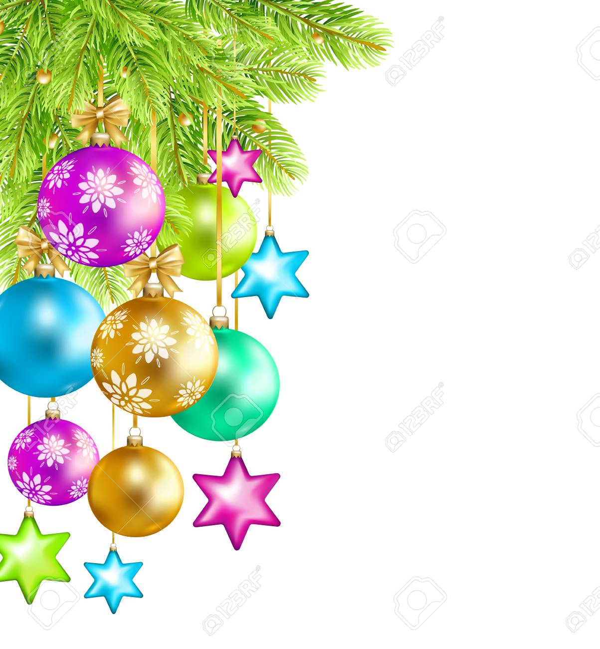 Colorful Christmas Background Design.Colorful Christmas Balls Stars Serpentine And Fir Tree Isolated