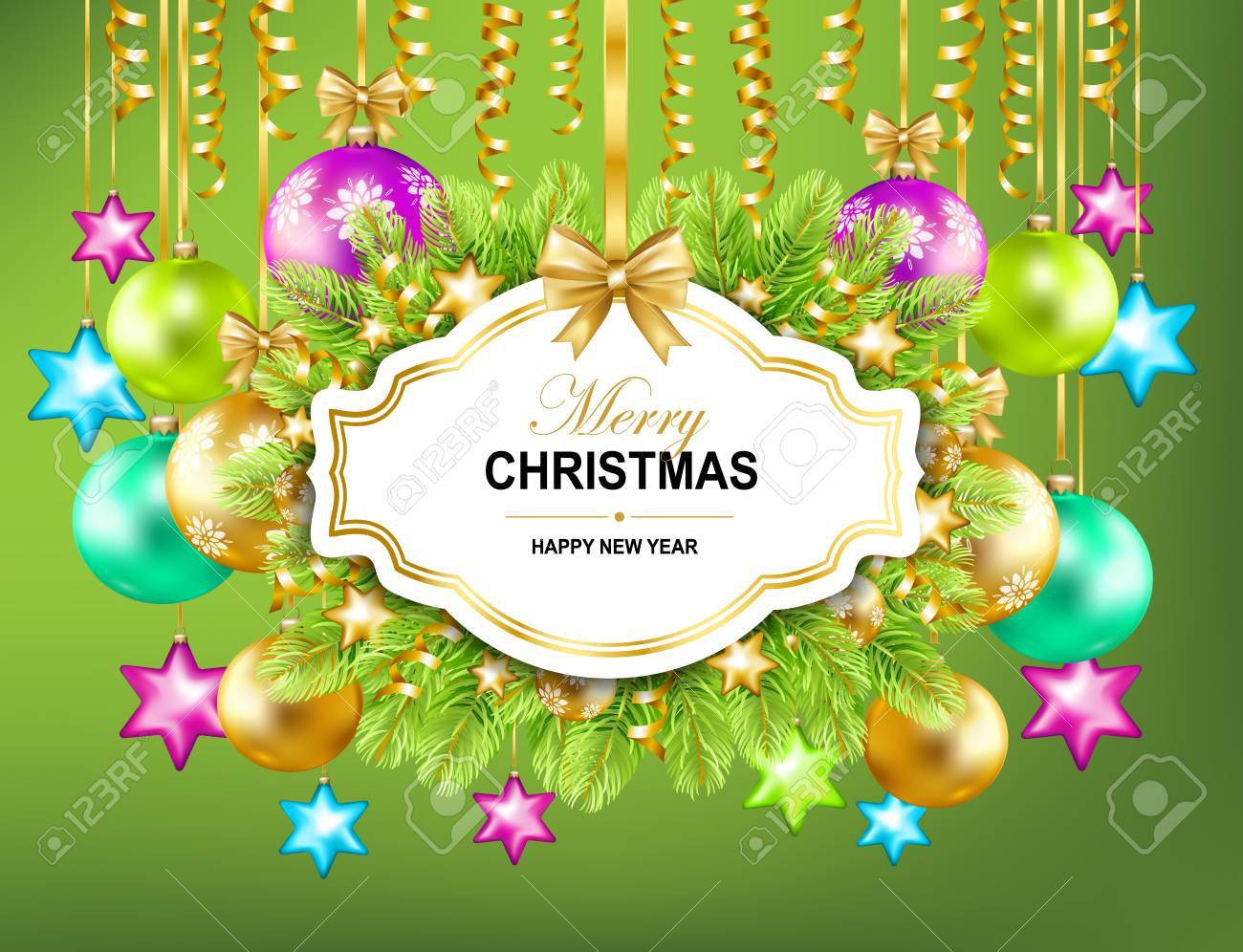 Merry Christmas And Happy New Year Frame With Gold Ribbon
