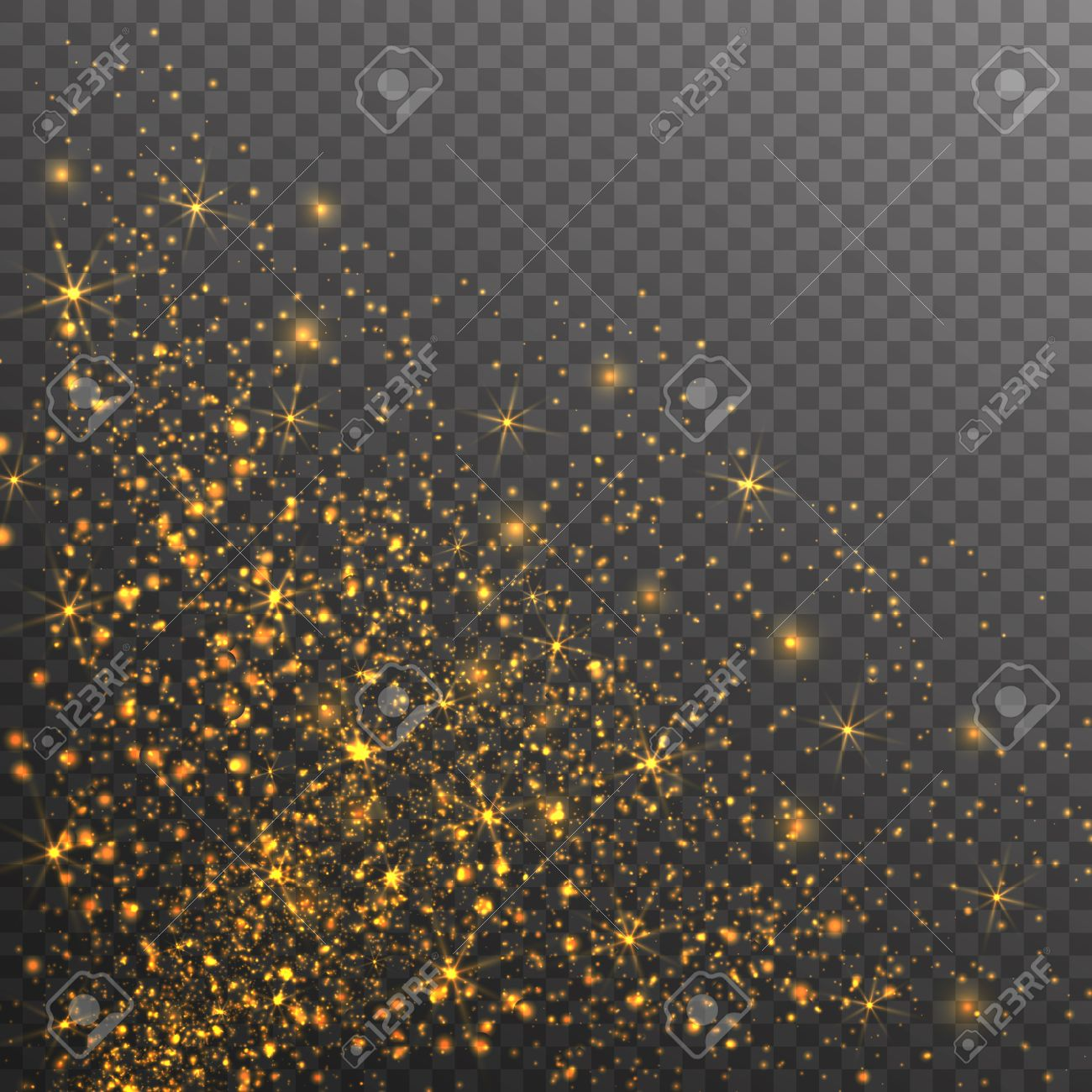 Gold glitter bright vector transparent background golden sparkles - Gold Glitter Sparkles On Transparent Background Vector Golden Dust Texture Twinkling Confetti Shimmering