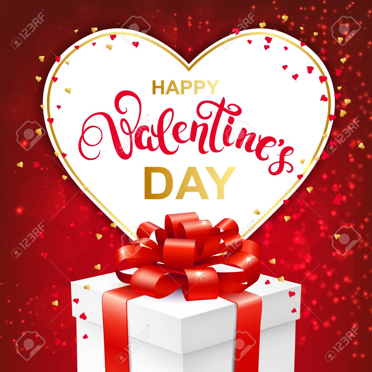 Happy Valentines Day Greeting Card With Handwritten Lettering
