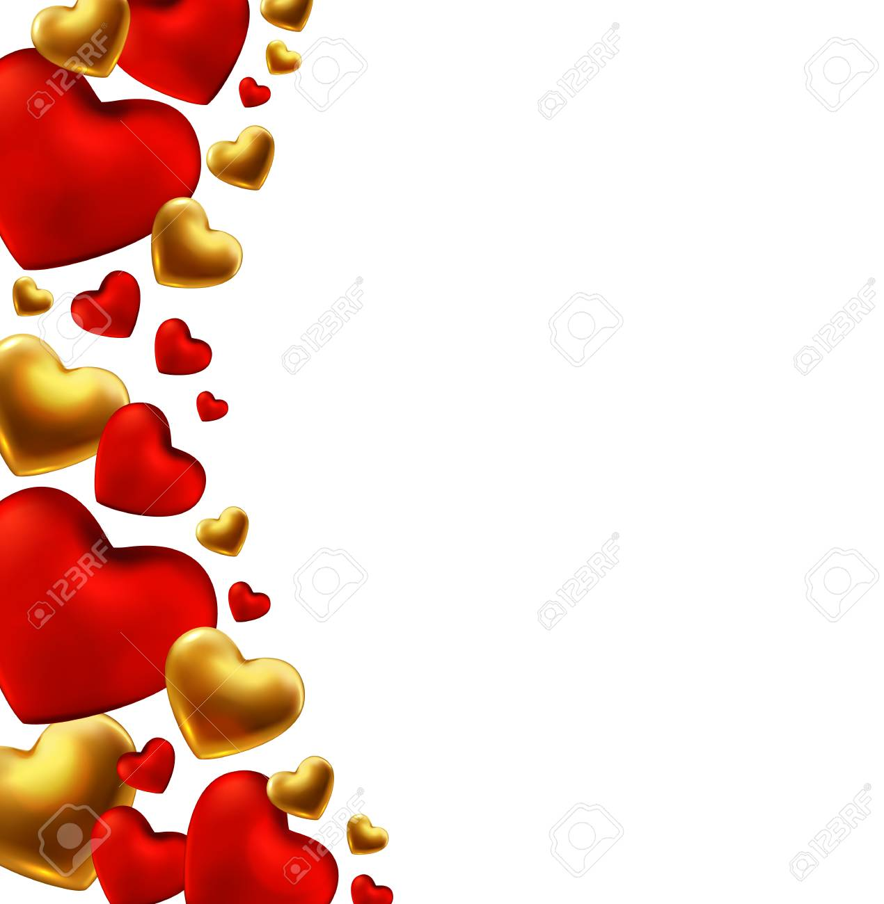 Happy Valentines Day Background With Red Gold Hearts Vector