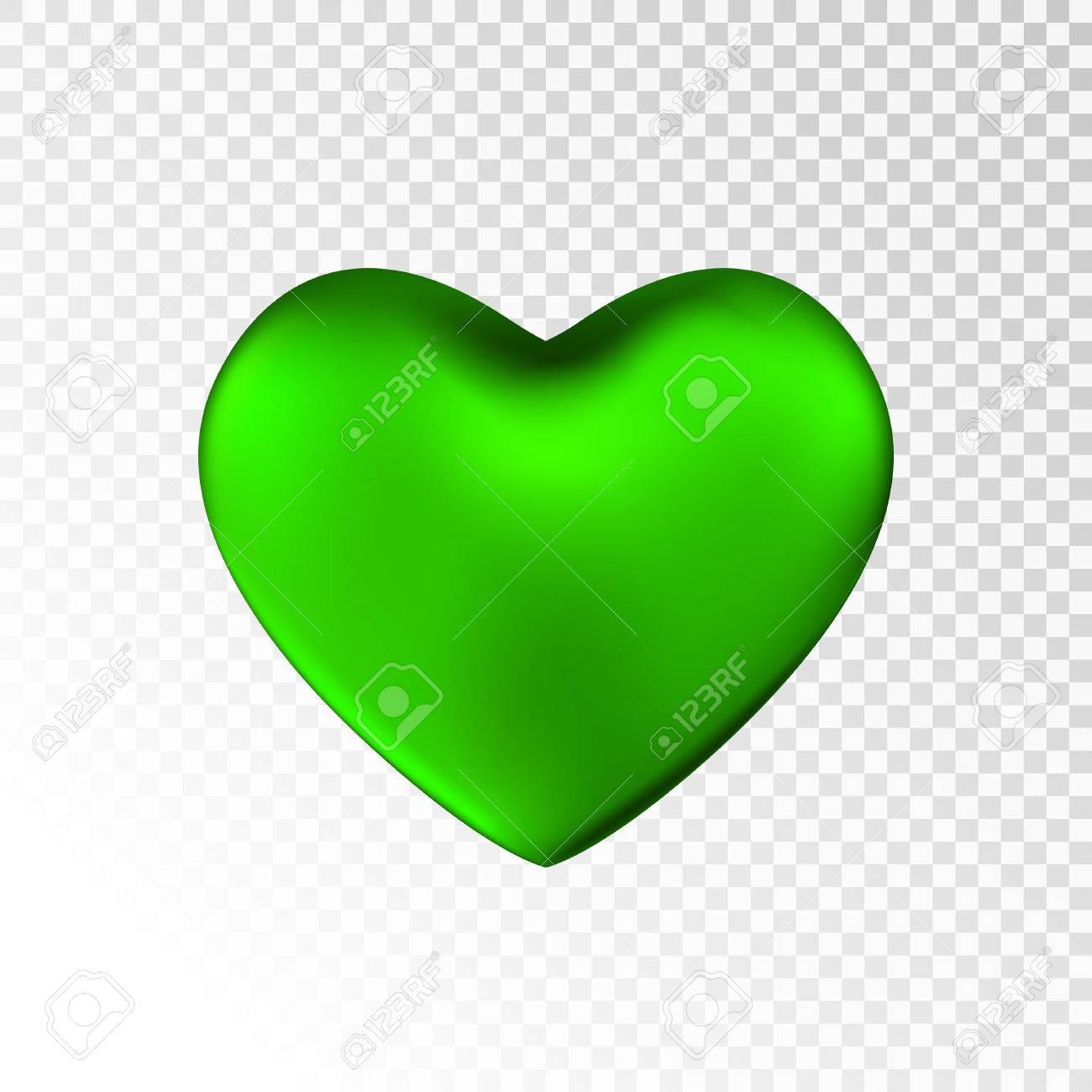 Grünes Herz Auf Transparentem Hintergrund. Happy Valentinstag-Gruß ...
