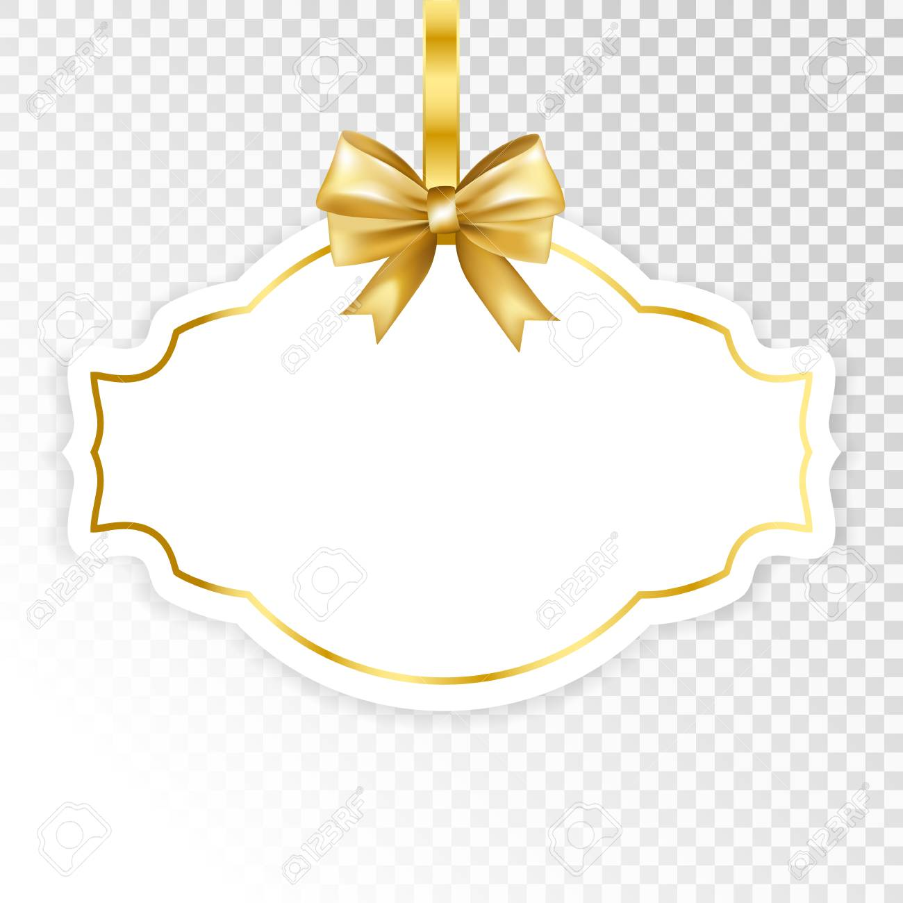 Paper White Frame With Gold Bow Isolated On Transparent Background Vector Illustration Stock