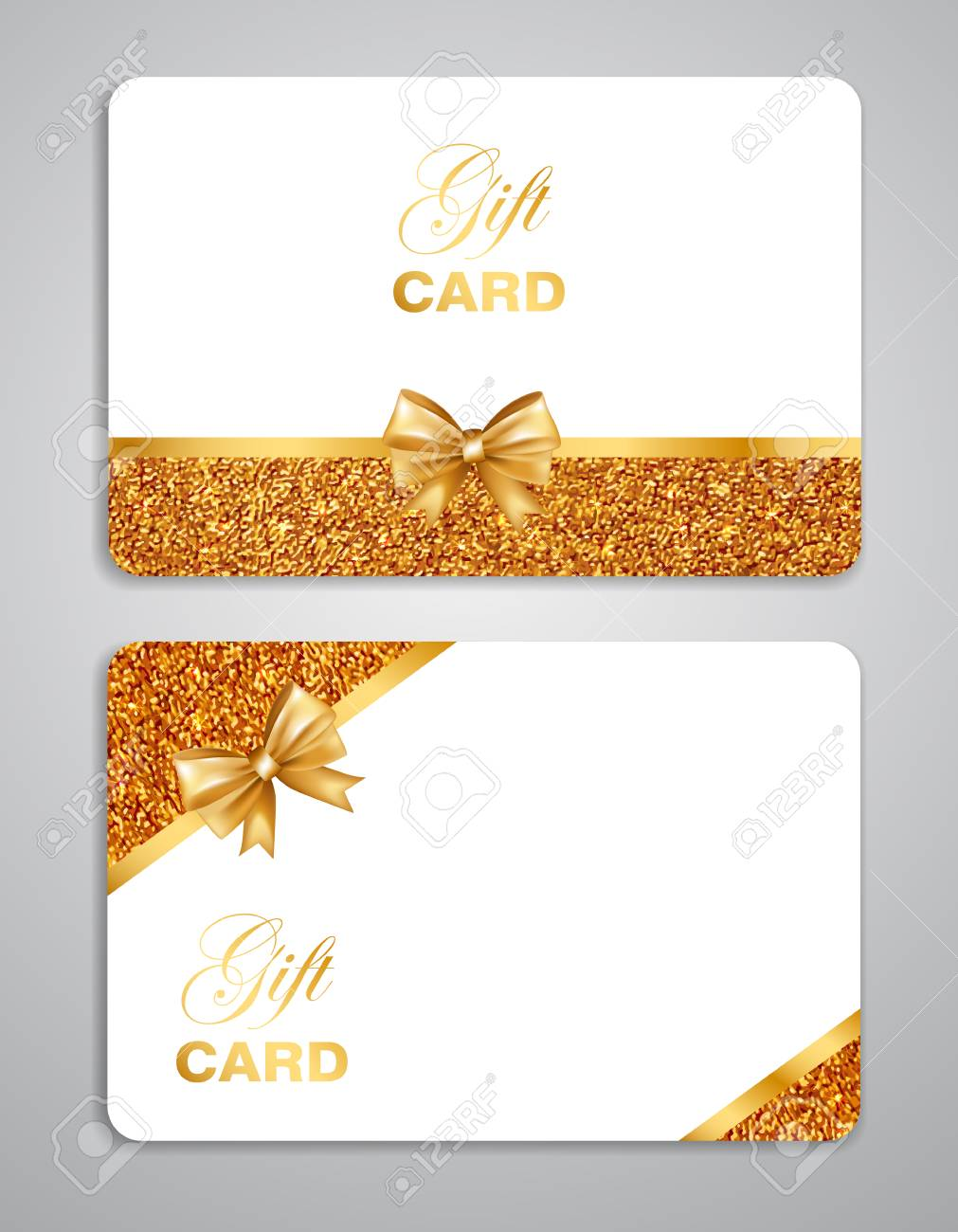 Gift Card With Gold Bow And Glitter Border Isolated On Gray
