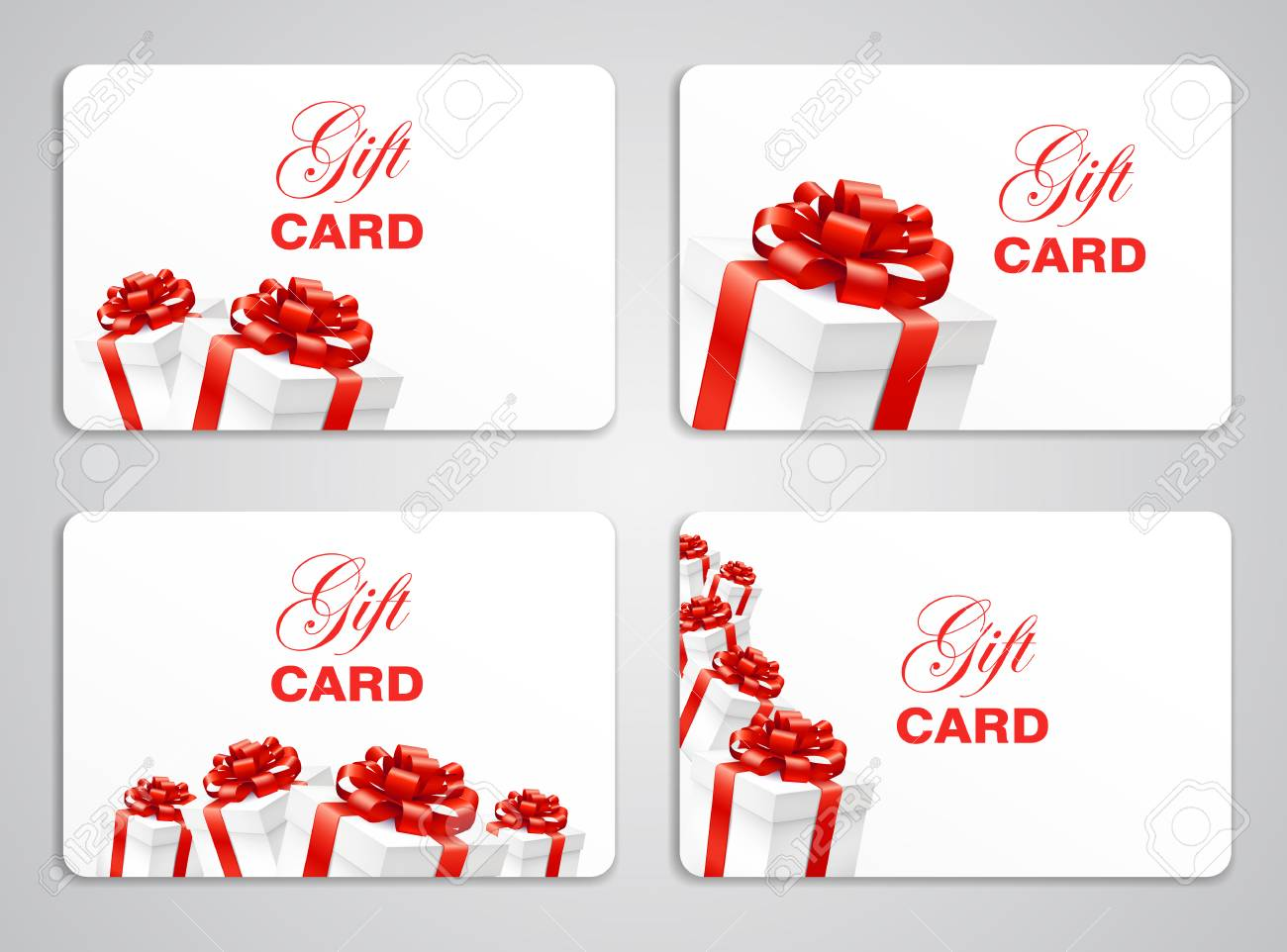 Gift Card With Present Boxes With Red Bow Holiday Cards Template