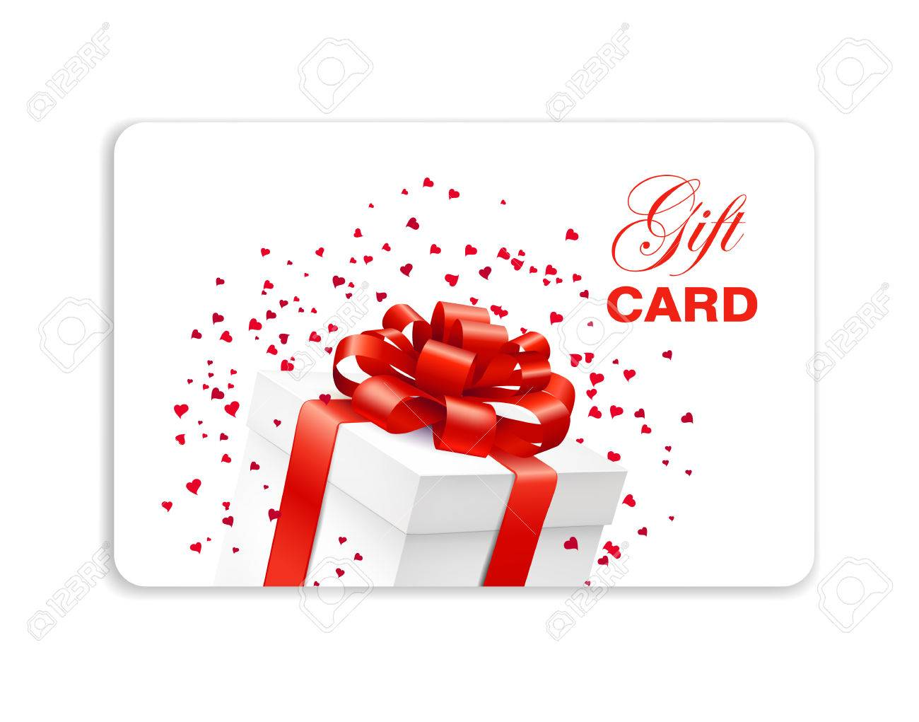 Gift Card With Present Box With Red Bow And Hearts Confetti ...