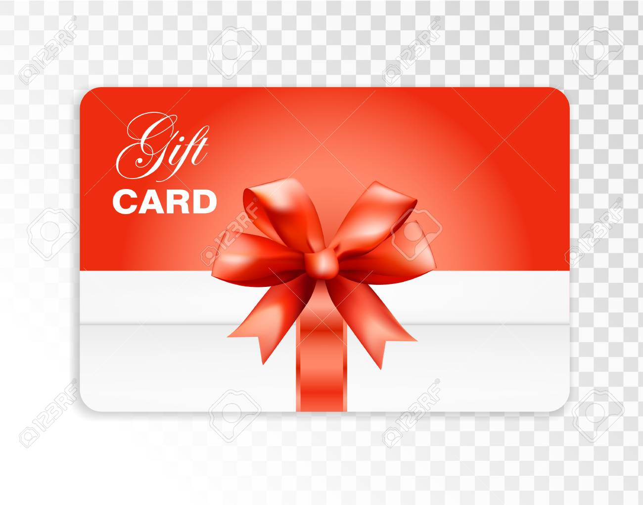 Gift Card With Box And Red Bow Isolated On Transparent Background