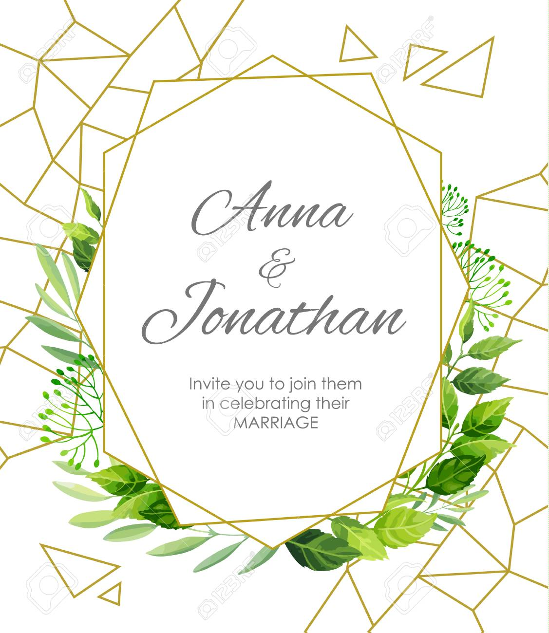 Wedding Invitation With Green Leaves Border And Geometric Pattern