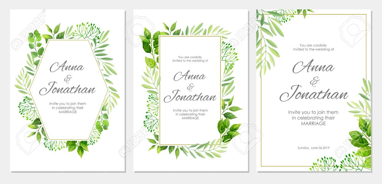 Wedding invitation with green leaves border floral invite modern vector wedding invitation with green leaves border floral invite modern card template set vector illustration stopboris Image collections