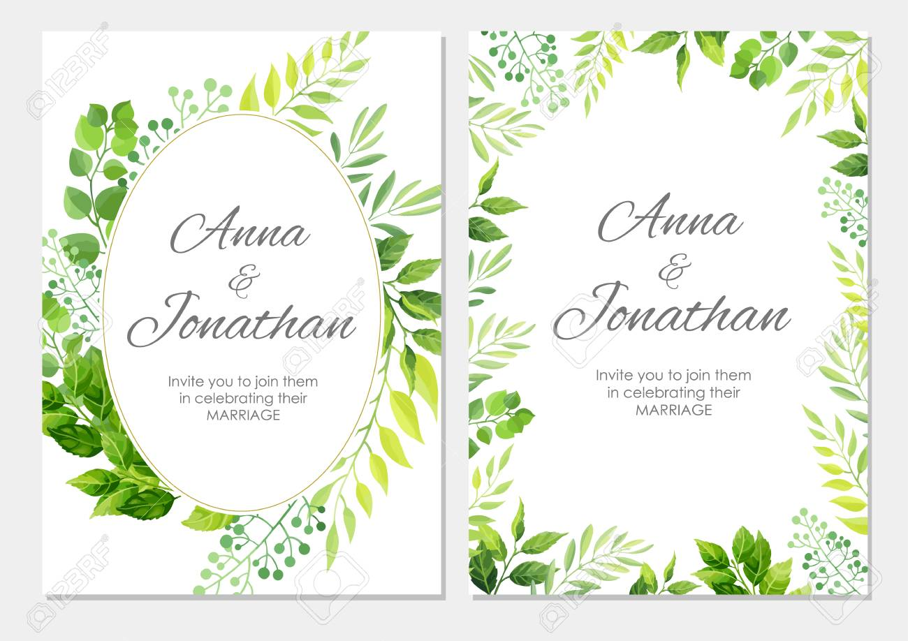 Wedding Invitation With Green Leaves Border Floral Invite Modern